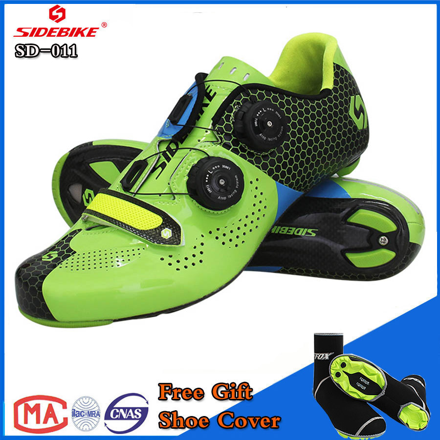 SIDEBIKE MTB Cycling Shoes Men Road Bike Ultra light carbon fiber Sole Auto-lock Bicycle Sport Shoes Zapatillas Ciclismo GREEN future carbon fiber bicycle crank mtb bike crankset ultra light carbon crank road cycling accessaries bcd130 170mm 175mm