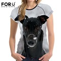 FORUDESIGNS 2017 New Fashion Women T Shirts Tees Tops Girl's Summer Basic Tshirt 3D Dog Animal Prints Feminina Shirts Clothes