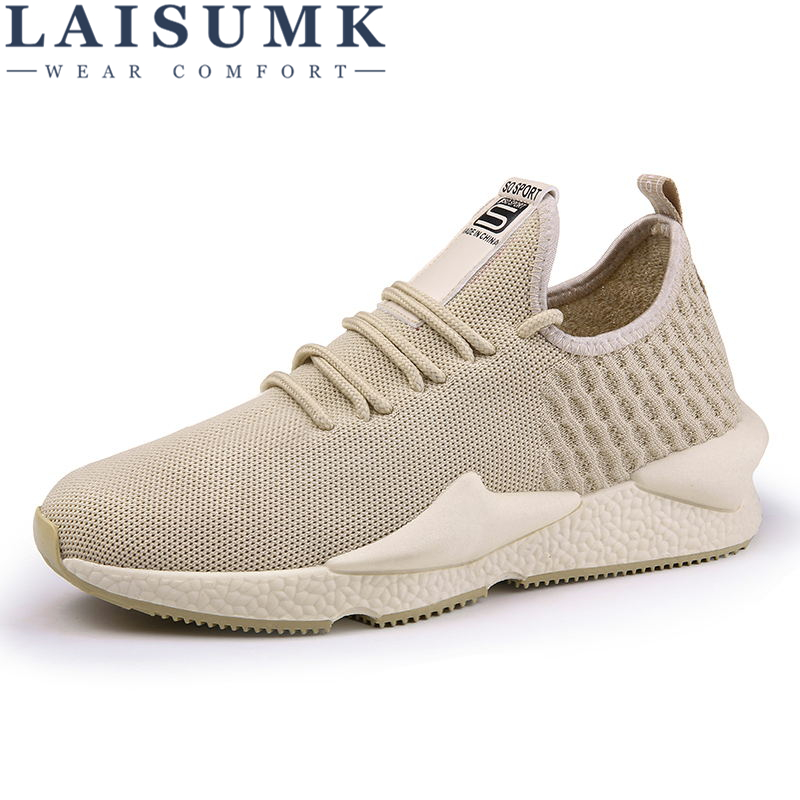 LAISUMK New Brand Designer Men Shoes Four Seasons Breathable Mesh Lace Up Adult Fashion Zapatillas Men Casual Shoes Sneakers in Men 39 s Casual Shoes from Shoes