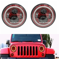 Pair 7 Inch Round Red Led Headlight With DRL Hi Lo Beam For Jeep Wrangler Jk