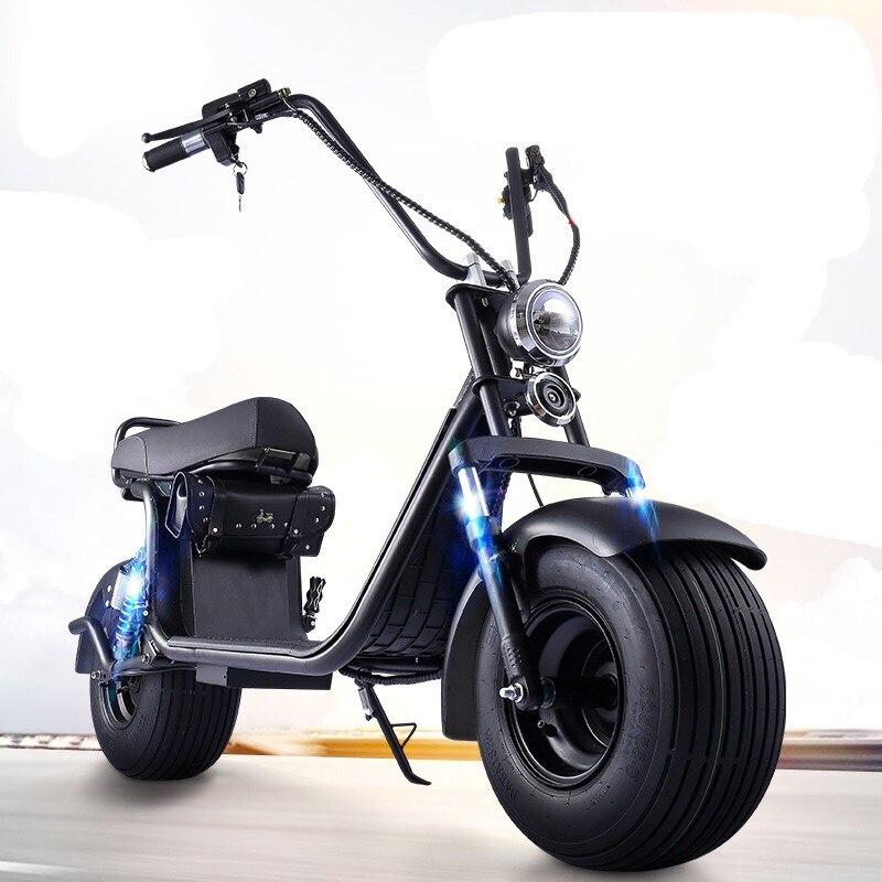 Moto électrique adulte Électrique Citycoco Scooter vélo électrique 60V20A 1500 W Double batterie au lithium Avec Deux-Roue