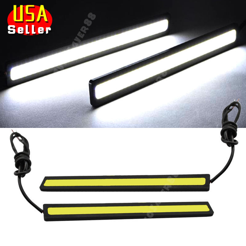 2x Super Bright White Car Cob Led Lights Drl Fog Driving Lamp