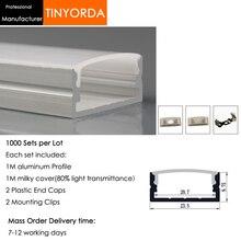 Tinyorda 1000 шт.(длина 1 м) светодиодный профиль Alu светодиодный профиль канала для 20 мм Светодиодные полосы света 1 м светодиодный профиль Alu профильный кабельный канал