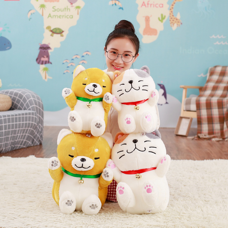 Creative cute Lucky Cat Plush Filled Dolls, Lucky Dog Plush Toys, Kid Toy, Birthday Gifts free shipping plush tongue funny cat cat expression a birthday present love cats the gifts of men and women