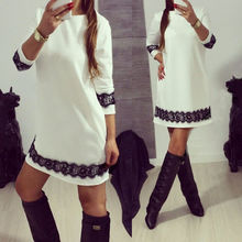 2016 Women Lady Dress Clothing Lace New Ladies Bodycon Party Casual Loose Brief Tunic Mini New Fashion Summer Dress
