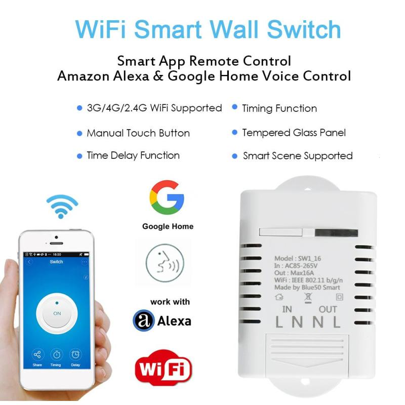 16A WiFi Smart Home Switch Work with Amazon Alexa Google Timing Schedules Scene 3520W APP Remote Control DS35