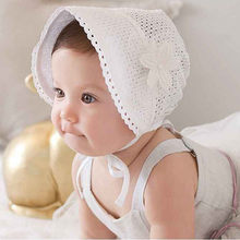 Kid Girls Hat Beanie Flowers Lace Gauze Princess Cap Flanging zonnehoed baby sun hat newborn photography props Dropshipping(China)