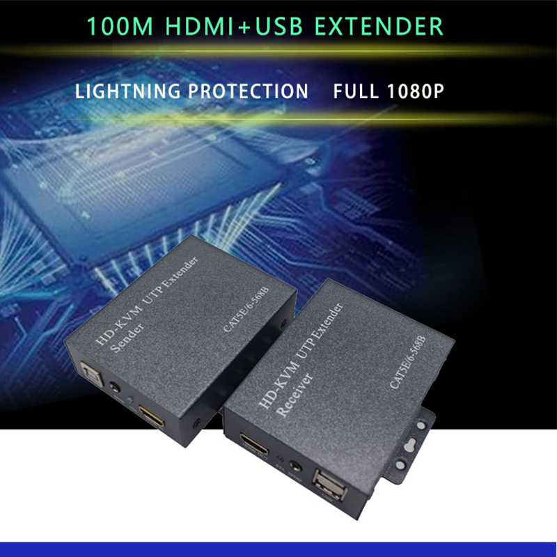 1080P 100m HDMI KVM UTP  Extender  With USB Port For DVR/HDTV HDMI USB KVM Extender Over Cat5 Cat6