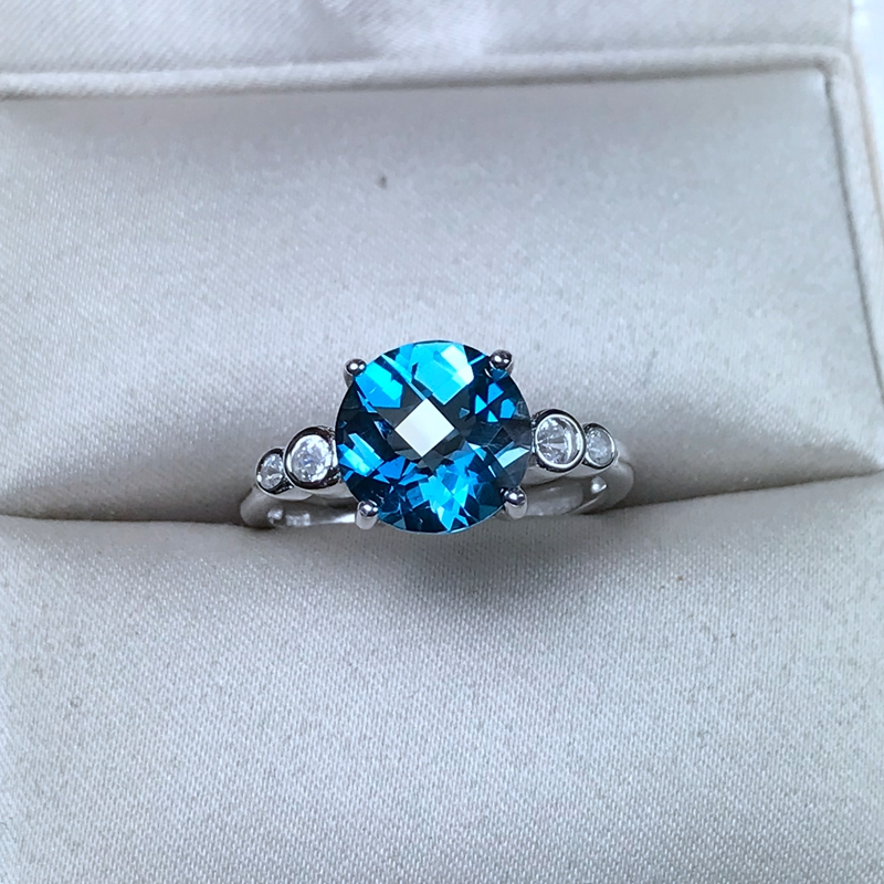 Almei Natural Blue Topaz Ring for Women, 925 Sterling Silver Wedding Jewelry, 6*8mm Gemstone with Velvet Box and CertificateAlmei Natural Blue Topaz Ring for Women, 925 Sterling Silver Wedding Jewelry, 6*8mm Gemstone with Velvet Box and Certificate