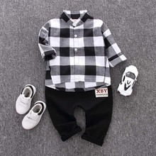 hot deal buy children clothing 2019 spring autumn boys clothes outfits kids clothes plaid shirt+pants 2pcs toddler boys clothing sets 1-4year