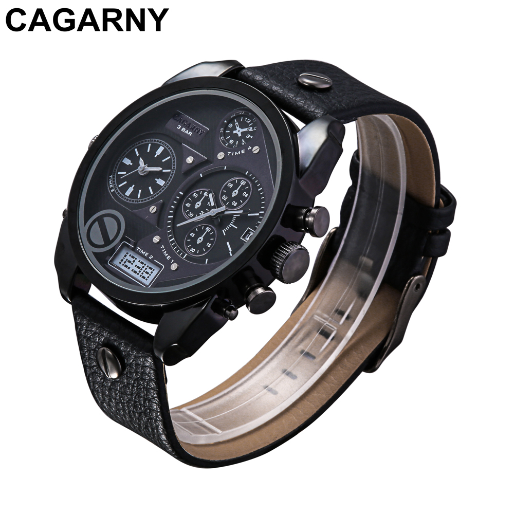 mens military watches army rose gold case black leather strap sports watches dual time zones large dial male clock for brave men free shipping (14)