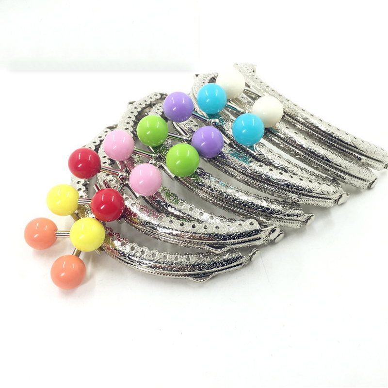 DIY Women Coin Bag Making Metal Clasp Silver Knurling Purse Frame Colorful Candy Ball Kiss Buckle 10pcs/lot