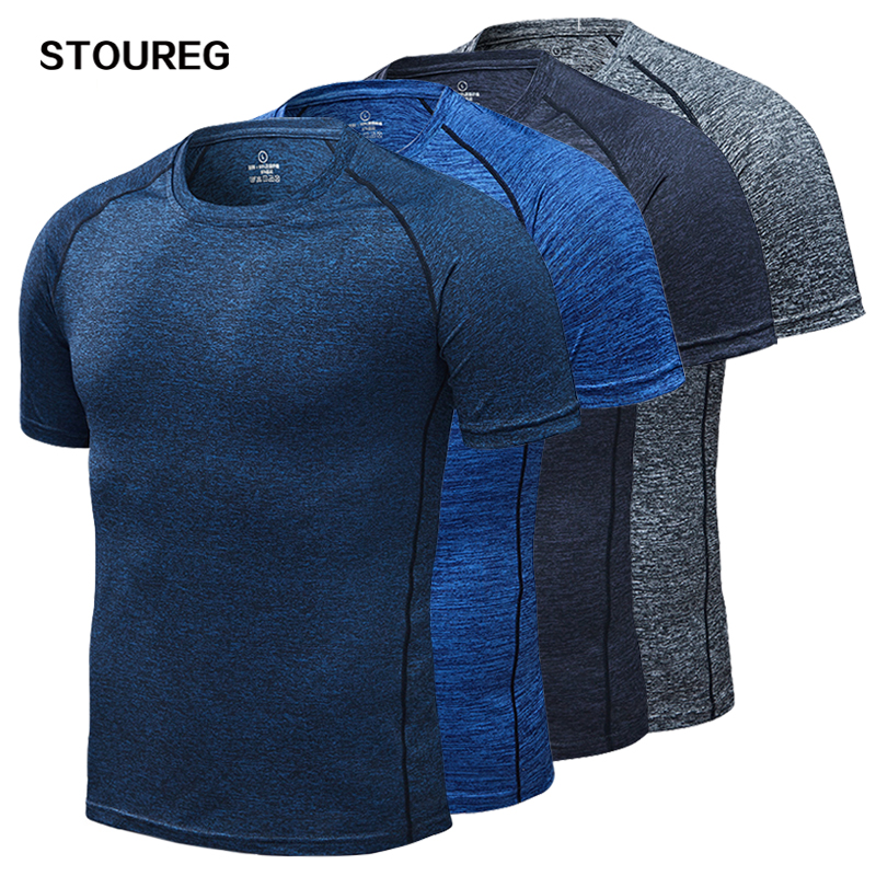 STOUREG Running Quick Dry Compression Sport T-Shirts Fitness Gym Tees Men's