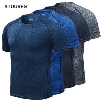 Męskie koszulki do biegania szybka kompresja na sucho t-shirty sportowe Fitness Gym koszulki do biegania koszulki piłkarskie męska koszulka sportowa tanie i dobre opinie STOUREG Wiosna Lato AUTUMN Winter spandex Pasuje prawda na wymiar weź swój normalny rozmiar