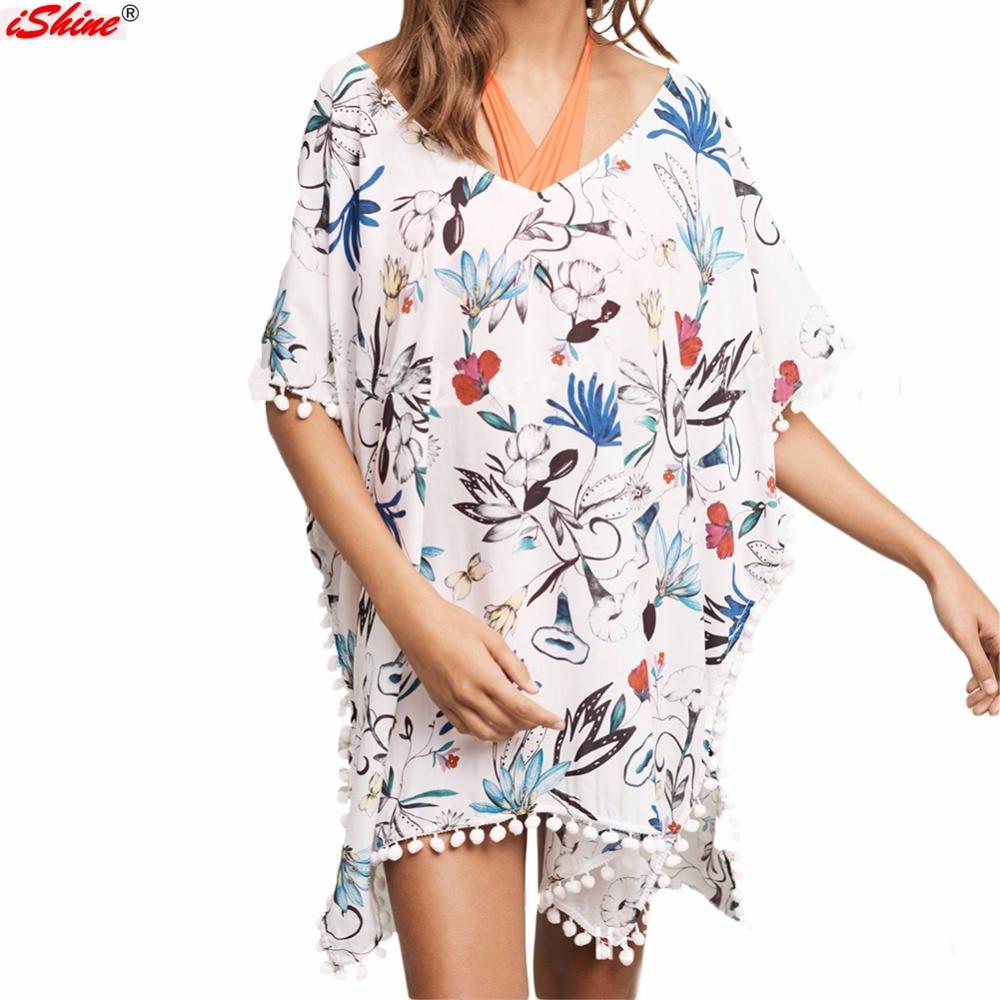 Beach floral swimsuit cover up kaftan summer shirt women for Beach shirt cover up