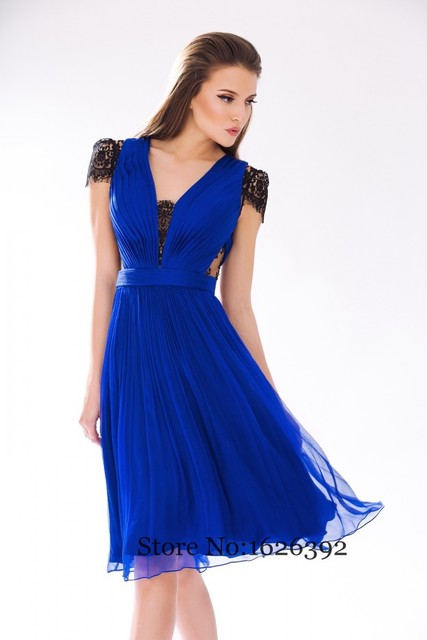 b83a864ccaf7 Cheap Royal Blue Summer Chiffon Dresses Short With Sleeves Black Lace See  Through A-Line Cocktail Dress Plus Size Party Gowns