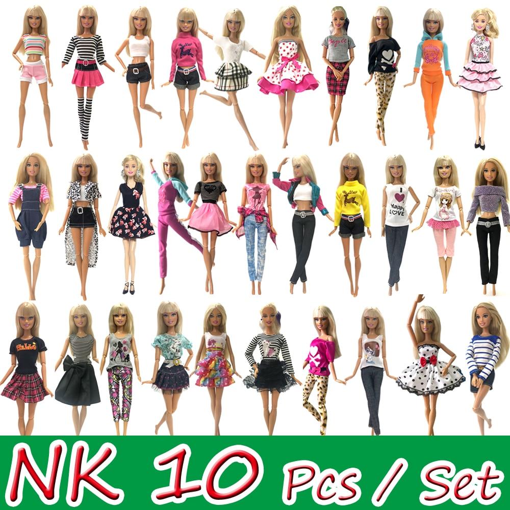 NK 10 Pcs Boneca Princesa Noble Vestido de Festa Vestido Para Barbie Doll Acessórios de Roupa de Design de Moda Melhor Presente Para A Menina boneca JJ