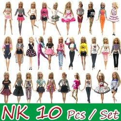 NK 10 Uds. Vestido de muñeca de princesa vestido de fiesta Noble para accesorios de la muñeca Barbie diseño de moda traje mejor regalo para muñeca de niña JJ