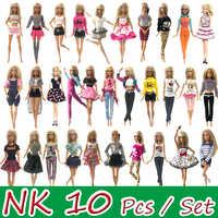 Nk 10 pçs princesa boneca vestido nobre vestido de festa para barbie boneca acessórios design de moda roupa melhor presente para meninas boneca jj