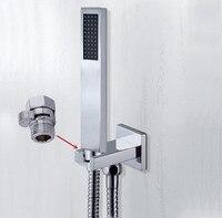 Oferta Cabezal de ducha de mano de envío gratis con conector de pared Válvula de apagado y pulverizador de mano de cobre de ahorro de agua de manguera de 1,5 m TH018-a