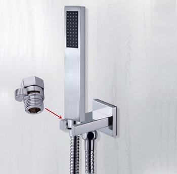 Cabezal de ducha de mano de envío gratis con conector de pared Válvula de apagado y pulverizador de mano de cobre de ahorro de agua de manguera de 1,5 m TH018-a