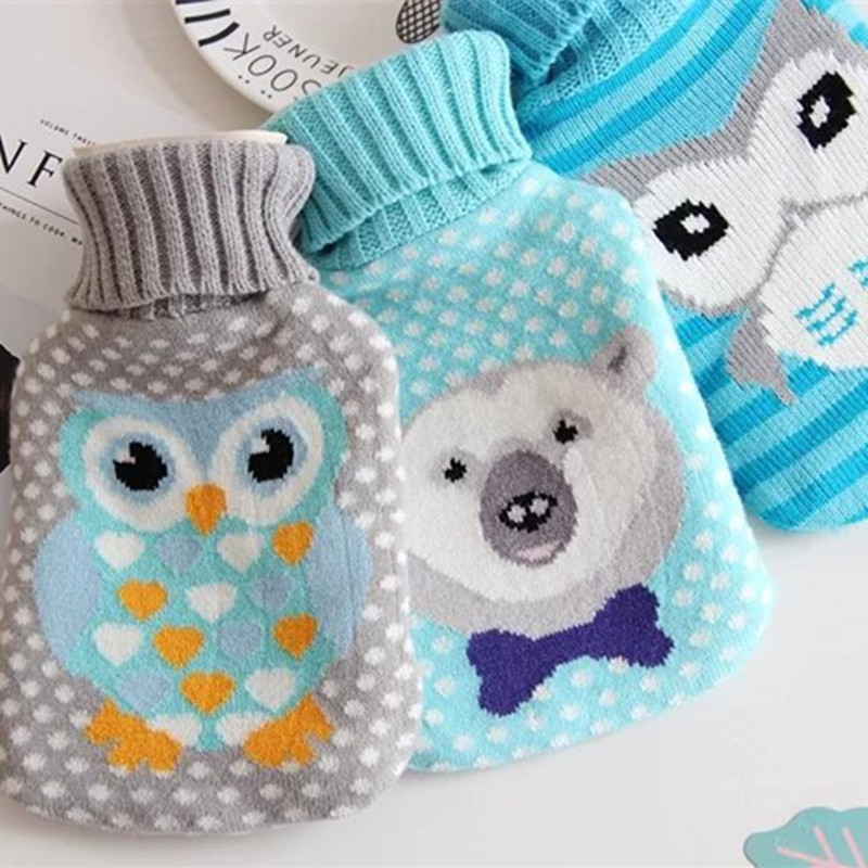 4 - Color Cartoon Hot Water Bag Sets Of Knitted Jacket Water Explosion - Proof Rubber Hot Water Bottle Removable 1L  2L lovely cartoon charging electric hot water bag environmental protection material safety explosion proof anti warm water bag