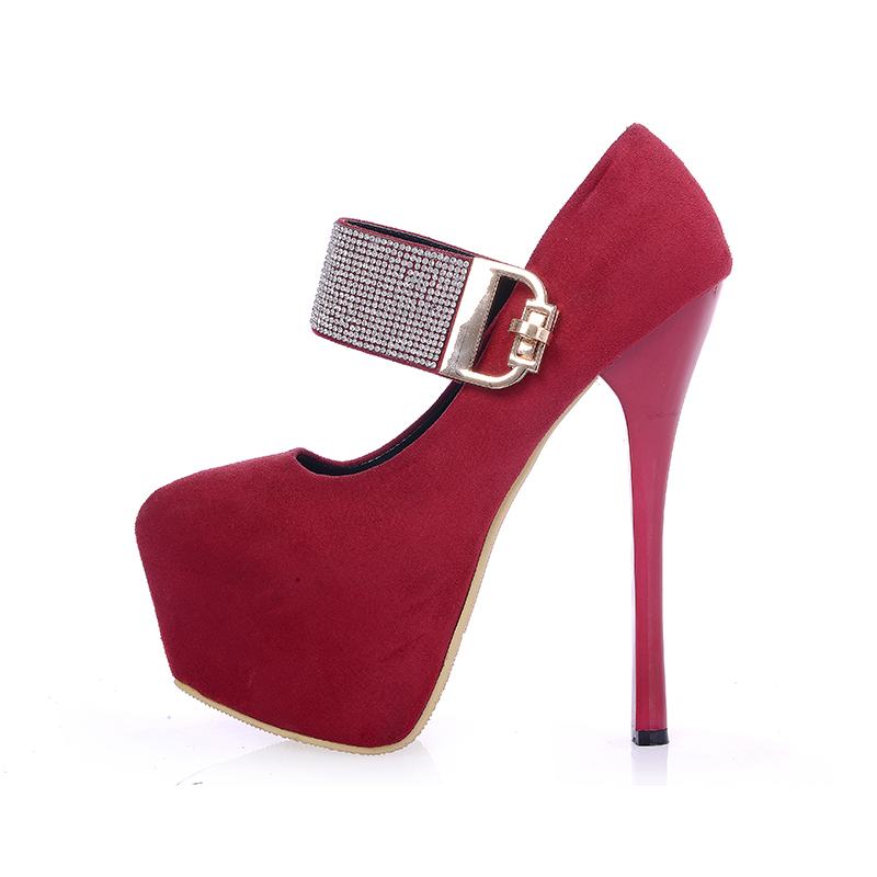 ФОТО High Quality ARMOIRE New Hot Fashion Women Platform Pumps Red Black Ladies Crystal Buckle Party Shoes Super High Heels AJX33-5