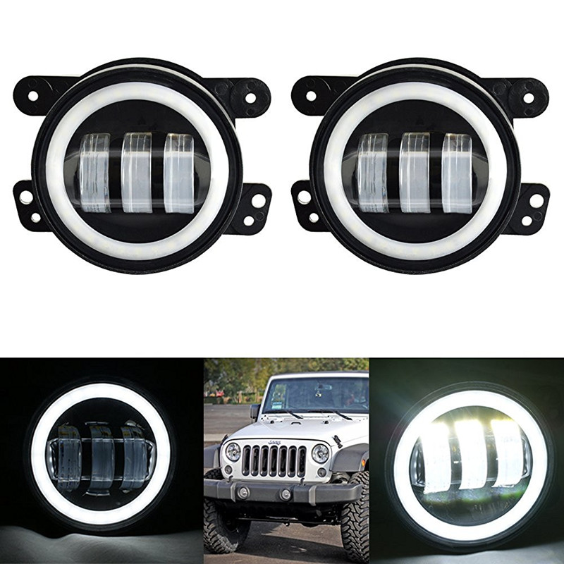 For Jeep Wrangler JK Dodge Harley Daymaker 4inch Round led fog light headlight 30W Projector LENS with White halo DRL lamp