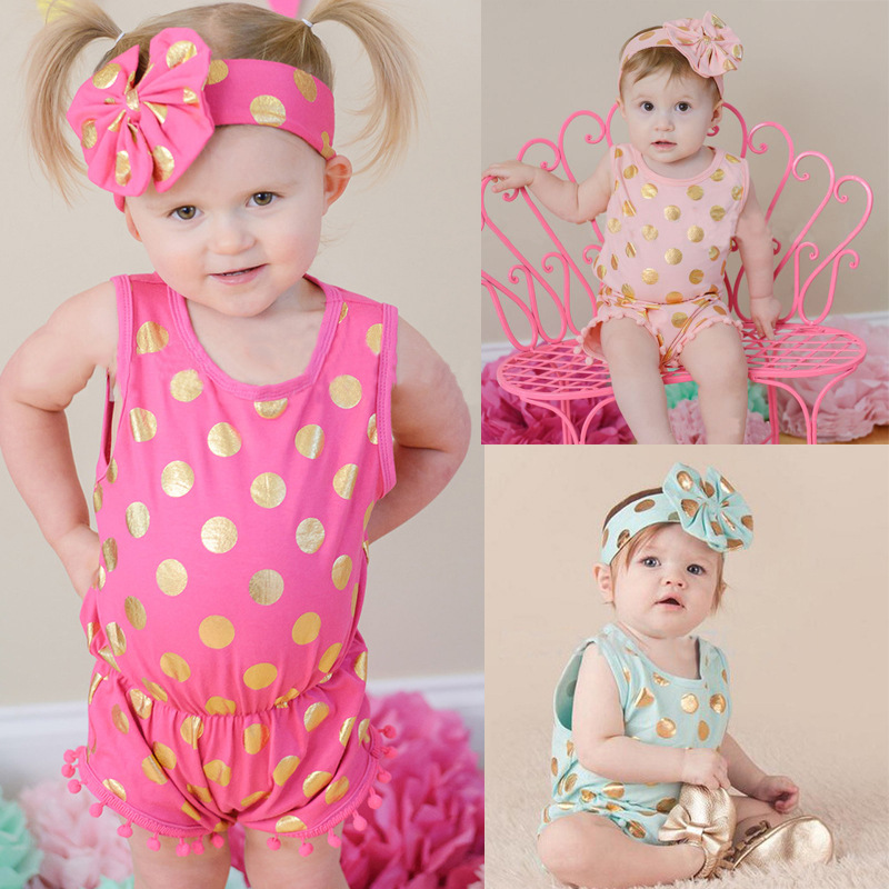 2pcs Baby Girl Clothing Set 2018 Summer Baby Girl Rompers Cotton Girl Outwear Sleeveless Roupas Bebe Polka Dot Kid Clothes