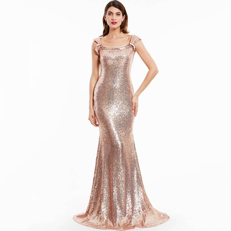 DressV mermaid evening dresses cap sleeves sequins floor length gown ...