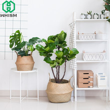 hot deal buy whism folding storage basket handmade rattan sundries container seagrass belly basket wicker makeup organizer laundry baskets