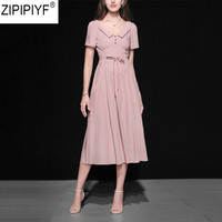High Quality 2018 Women Summer Vintage Sash A line Party Dress Elegant Short Sleeve Turn Down Collar Solid Mid Calf Dress C1249