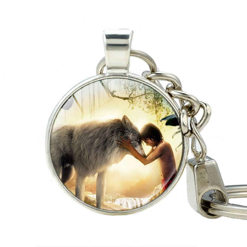 The Jungle Book Keychain Baloo Bear Cute Animals Keychains Handmade Vintage Glass Photo Jewelry Friendship Key Holder