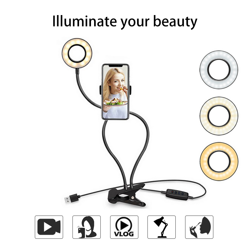 for YouTube Live Stream Photography Studio Photo Studio Selfie LED Ring Light Makeup Camera Lamp with Cell Phone Holder