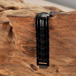 Image 4 - RainSo Male Bracelet Health Germanium Bracelet Charm Black Titanium Magnetic Therapy Bangles Unique Wristband Men Jewelry 2020