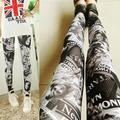 Womens Punk Sexy Stretchy calças lápis Skinny Pants Lady papel de impressão calças