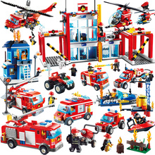 GUDI Fire Fighting Series Building Blocks Truck Compatible with major brand blocks Fire Station Truck Education DIY Toys