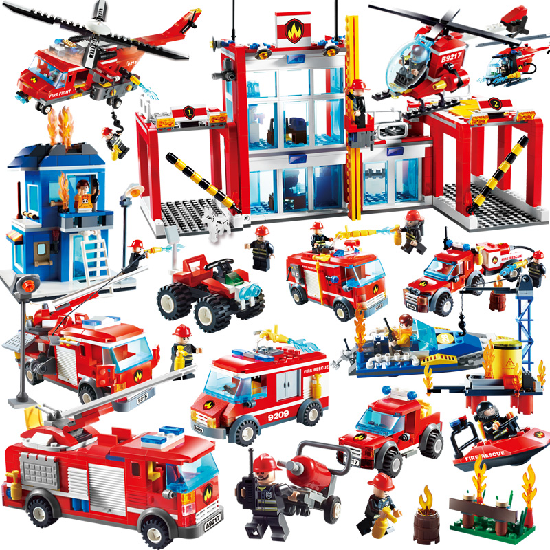 GUDI Fire Fighting Series Building Blocks Truck Compatible with major brand blocks Fire Station Truck Education DIY Toys ...