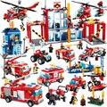Gudi serie bloques de construcción de camiones de extinción de incendios compatibles con las principales marcas bloques estación de bomberos camión educación diy juguetes