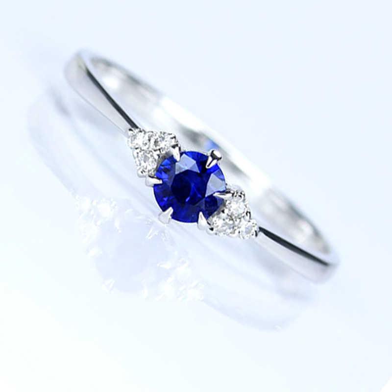 Natürlichen Saphir Ring Runde feuer VS grade spezielle angebot Edlen Schmuck Ring Blau Farbe 18 karat Sri Lanka