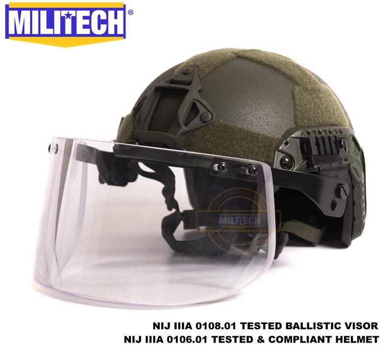 MILITECH Oliver Drab coupe Maritime de luxe NIJ IIIA casque pare-balles rapide et visière ensemble affaire casque balistique masque pare-balles