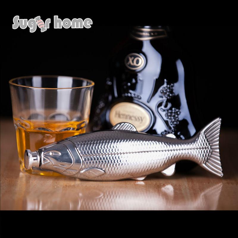 Mealivos personnalité poissons forme 4 oz de Qualité Alimentaire En Acier Inoxydable Hip Flask Alcool Liqueur vodka Whisky Bouteille cadeaux verres