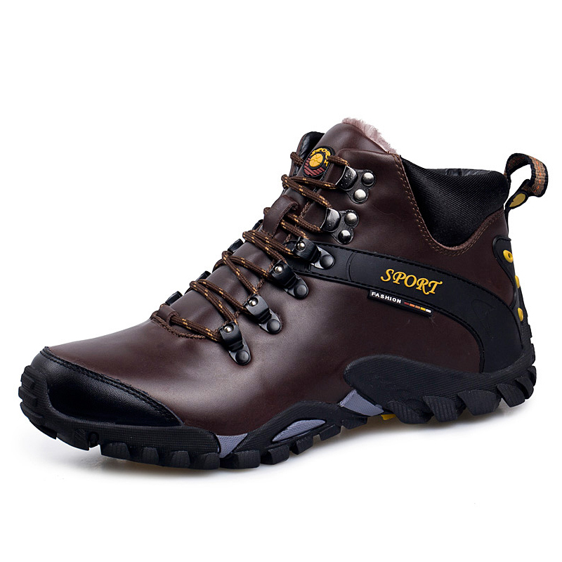 Waterproof Leather Men Hiking shoes High Quality Trekking Snow Boots Fur Anti-Skidding Men Climbing Shoes Winter Ankle Boots waterproof men outdoor hiking boots autumn winter hunting boots mountain climbing men trekking shoes warm fur snow boots male