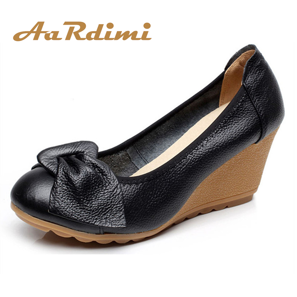 AARDIMI Increasing Vintage Mary Janes Women Shoes Platform Genuine Leather Spring Slip On High Heels Wedges Shoes Women Pumps 2017 new women s genuine leather pumps female casual shoes sexy lady medium heels fashion high wedges platform flower slip on