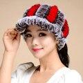 Nuevo 2016 Gorros de Invierno Sombrero de Piel Para Las Mujeres Tapa de Vacío Real Sombrero de Piel de conejo Gorros Calientes Elásticos Tamaño Libre Señoras de La Manera Del Sombrero TM10