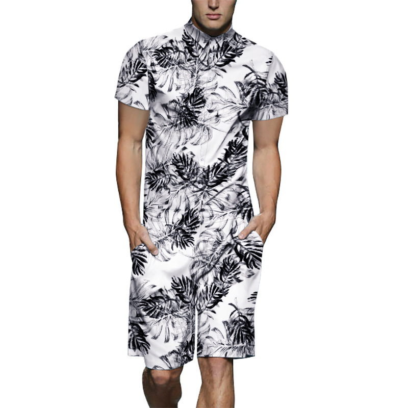Fshinon 3D Print Men Rompers 2019 Short Sleeve Summer Hawaiian Beach Romper One Piece Jumpsuit Playsuit Cargo Overalls TS-485