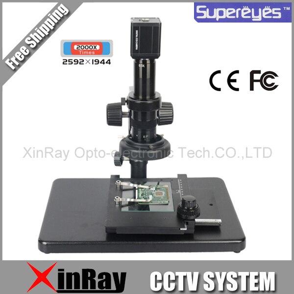 Supereyes T004 250X-2000X USB 5.0 Мп промышленные цифровой микроскоп лупа высокоточного оборудования бесплатная доставка