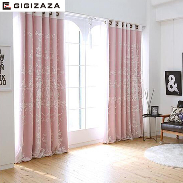 Torisa Double Layer Embroidery Curtain Ivory Color Cloth Voile Sheer Black Out Fabric Bedroom