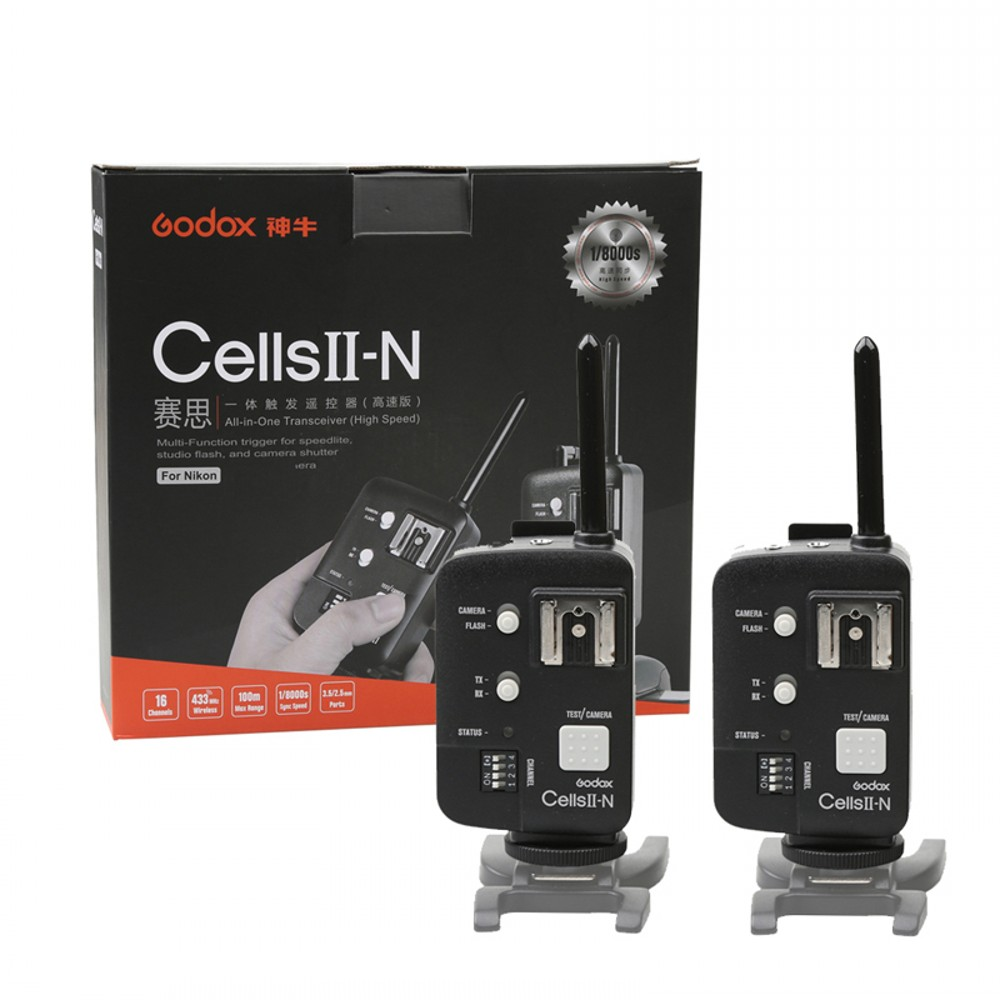 2pcs Godox Cells II 1/8000s HSS Wireless Flash Transceiver Trigger Kit for Nikon DSLR Camera, Speedlite and Studio Flashes yongnuo yn 560 iii 2 4g hss 1 8000s radio flash speedlite and rf603n ii wireless trigger single receiver for nikon kit