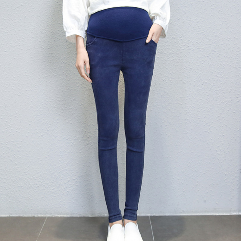 2018 Denim Look Super Elastic Maternity Pencil Pants 2017 Autumn Belly Legging Clothes For Pregnant Women Pregnancy Trousers